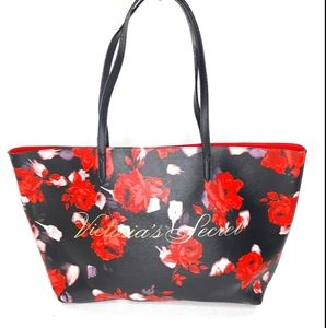 Victoria's Secret Floral Tote Bag Purse XL Blk Red